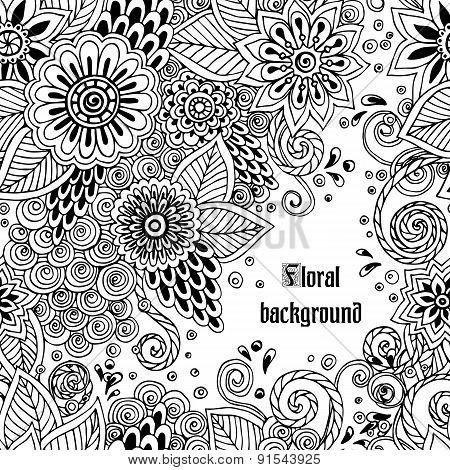 Template poster with doodle flowers and paisley for your business.