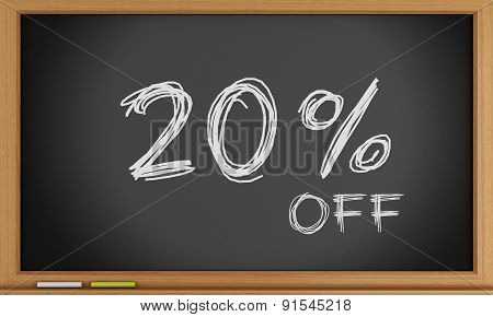 20 percent off written on blackboard.