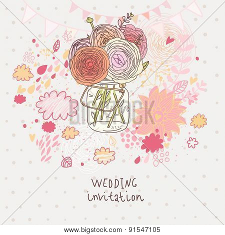 Flowers in jar. Sweet bouquet in vase - wedding invitation card in vector. Abstract floral background in pink colors