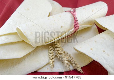 Fresh Tortillas Tied With A Ribbon