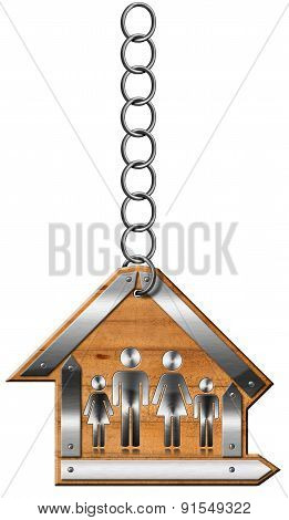 House With Family - Sign With Chain