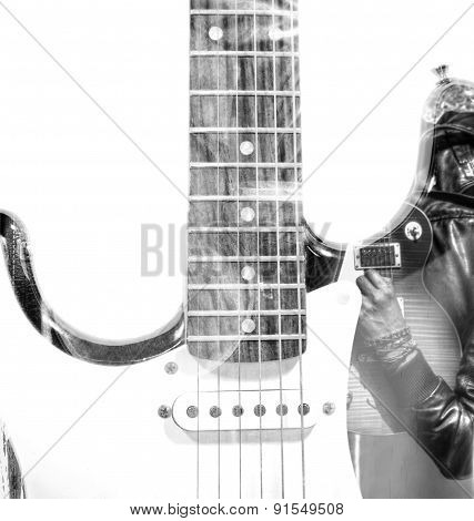 Guitar Player With An Open Guitar Case And Guitar Silhouette In Double Exposure In Bw