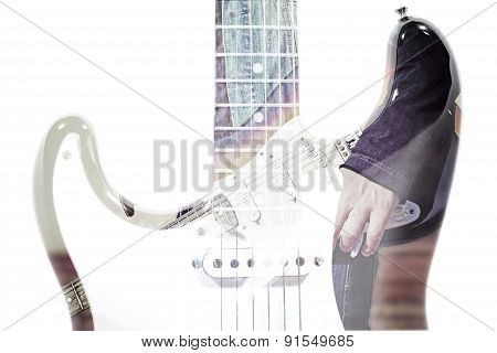 Guitar Player And Guitar Silhouette In Double Exposure Effect