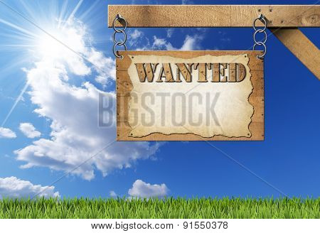 Wanted - Wooden Sign With Chain