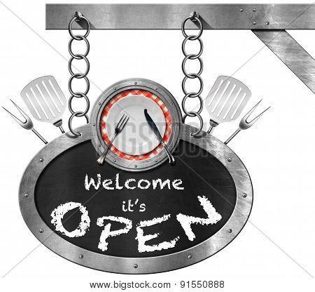 Welcome It Is Open - Sign With Plate And Cutlery