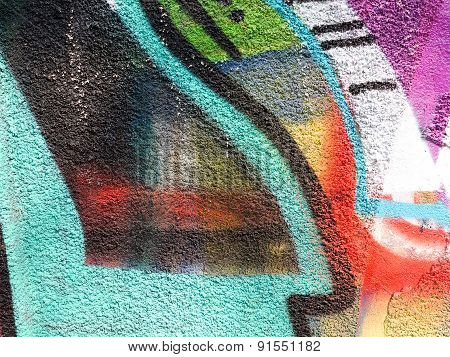Hooligan Smeared Paint The Walls Of The Old Building. Landscape Style. Grungy Concrete Surface With
