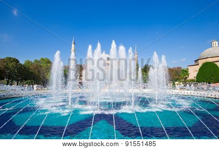 Blue Mosque and fountains in the morning, Istanbul, Turkey