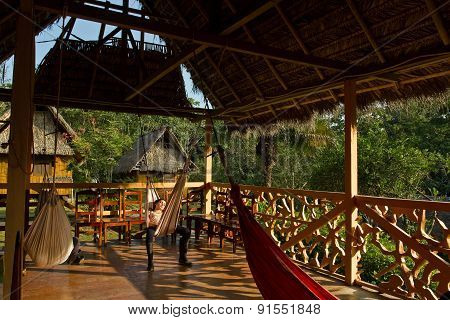 Ecological lodge in amazon rainforest, Yasuni National Park, Ecuador