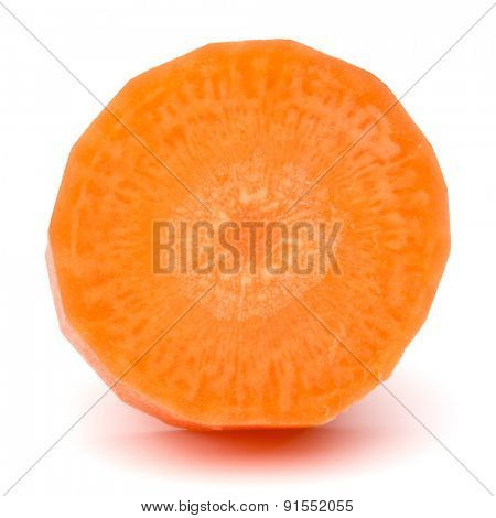 Chopped carrot slice isolated on white background cutout