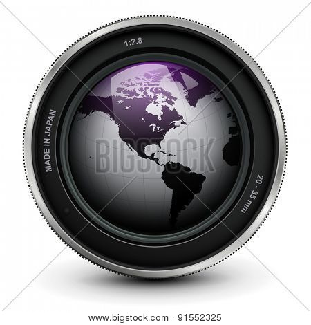 Camera photo lens with earth globe inside, vector.