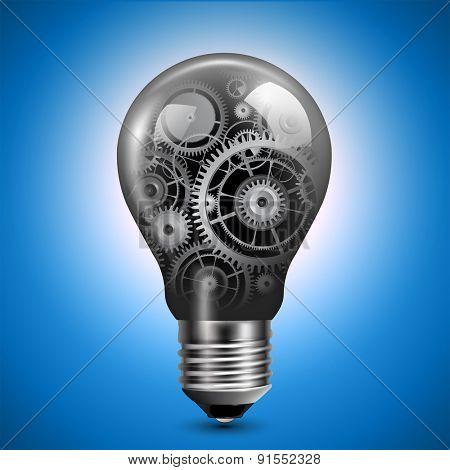 Light bulb with gears inside, vector.