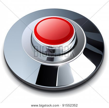 Web button red with metallic, chrome elements