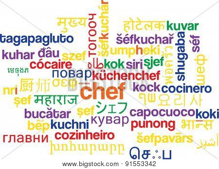 Background concept wordcloud multilanguage international many language illustration of chef