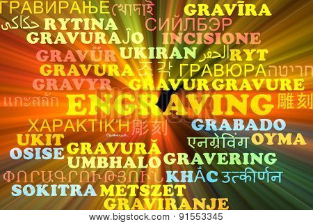 Background concept wordcloud multilanguage international many language illustration of engraving glowing light