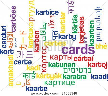 Background concept wordcloud multilanguage international many language illustration of cards