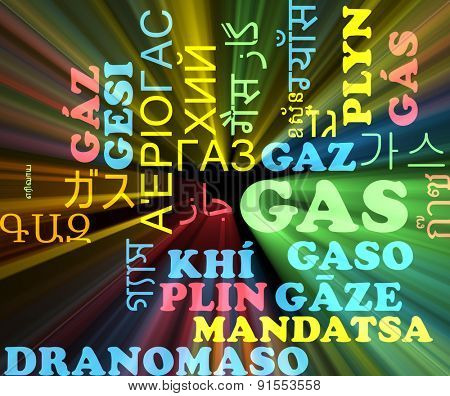 Background concept wordcloud multilanguage international many language illustration of gas glowing light