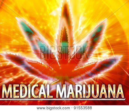 Abstract background digital collage concept illustration medical marijuana