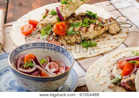 Turkey Kebab With Parsley Salsa