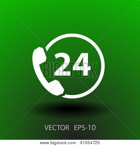 Flat long shadow 24h support icon, vector illustration