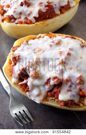 Baked spaghetti squash with ground turkey, and melted cheese