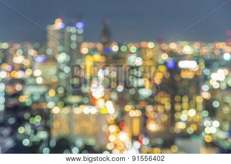 Bangkok Cityscape At Night, Blurred Photo Bokeh