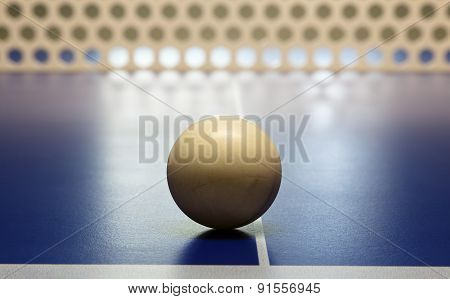 Closeup Of Ping Pong Ball Sitting On Table