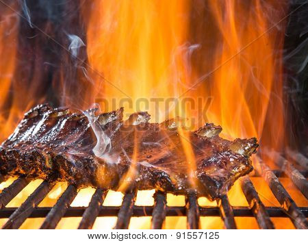 Delicious pork spareribs on cast-iron grill grate, garden barbecue.
