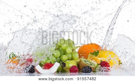 Fresh fruit with water splash on white background