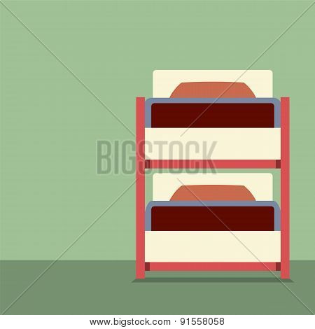 Flat Design Empty Bunk Bed.