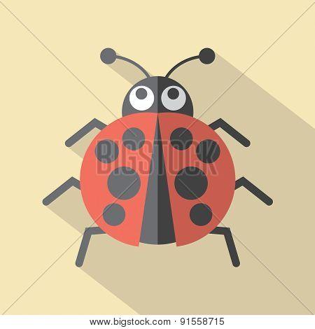 Flat Design Ladybug Icon.
