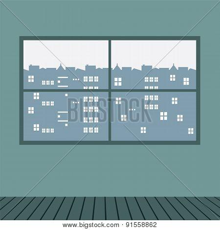 Wide Glass Window With Wooden Floor.