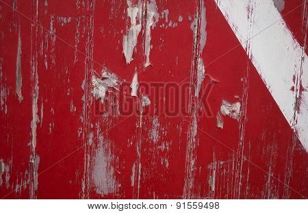 Red door with white stripe
