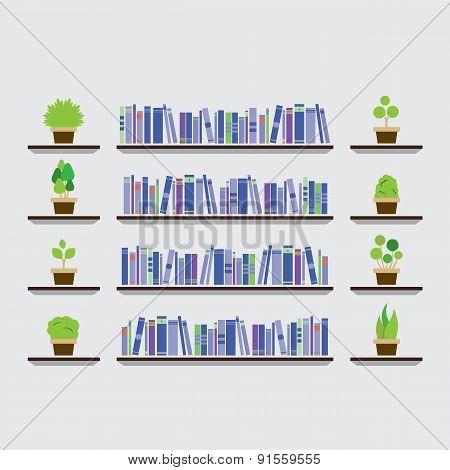 Bookshelf With Pot Plant On Wall.