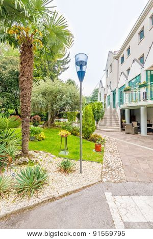 Hotel building with nice outdoor landscape in Mestre, Venice, Italy.