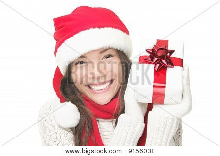 Christmas Woman Holding Gift Smiling