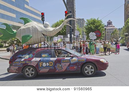 Asheville Gmo Protest Rally Downtown With Supportive Fish Car