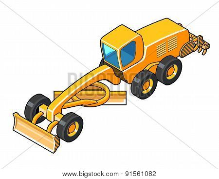 Modern Motor Grader With Second Blade Isometric View