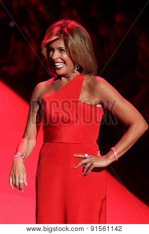 NEW YORK-FEB 12: Hoda Kotb wears Romona Keveza at Go Red for Women-The Heart Truth Red Dress Collection at Mercedes-Benz Fashion Week at Lincoln Center on February 12, 2015 in New York City.