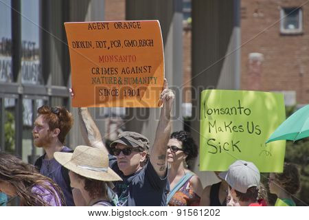 Monsanto Crimes Against Nature And Humanity Signs