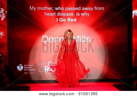 NEW YORK-FEB 12: Actress Donna Mills wears Mark Zunino at Go Red for Women-The Heart Truth Red Dress Collection at Mercedes-Benz Fashion Week at Lincoln Center on February 12, 2015 in New York City.