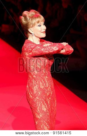 NEW YORK-FEB 12: Actress Barbara Eden wears Carmen Marc Valvo at Go Red for Women-The Heart Truth Red Dress Collection at Mercedes-Benz Fashion Week on February 12, 2015 in New York City.