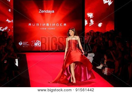 NEW YORK-FEB 12: Actress Zendaya wears Rubinsinger at Go Red for Women-The Heart Truth Red Dress Collection at Mercedes-Benz Fashion Week at Lincoln Center on February 12, 2015 in New York City.