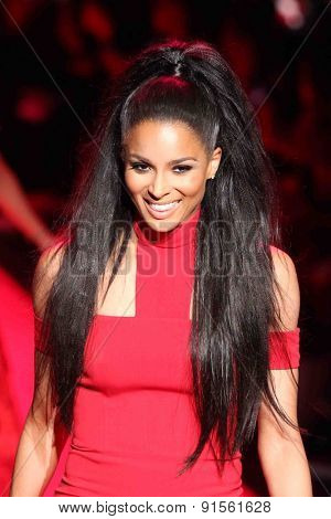 NEW YORK-FEB 12: Singer Ciara wears Safiyaa at Go Red for Women-The Heart Truth Red Dress Collection at Mercedes-Benz Fashion Week at Lincoln Center on February 12, 2015 in New York City.