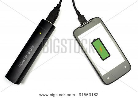 Smart Phone Charging With Power Bank, Isolated, Full