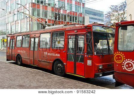 Old red Skoda trolleybus in Bratislava, Slovakia