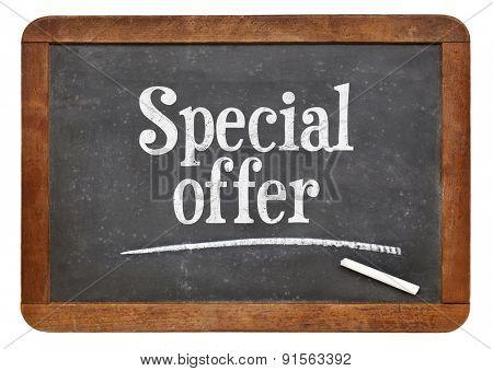 special offer  sign - text on a vintage slate blackboard