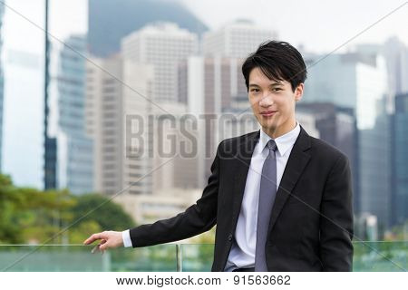 Asian businessman at central district in Hong Kong