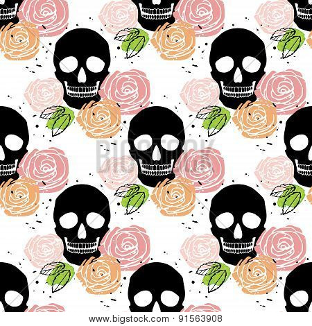 Floral Skull Seamless Pattern