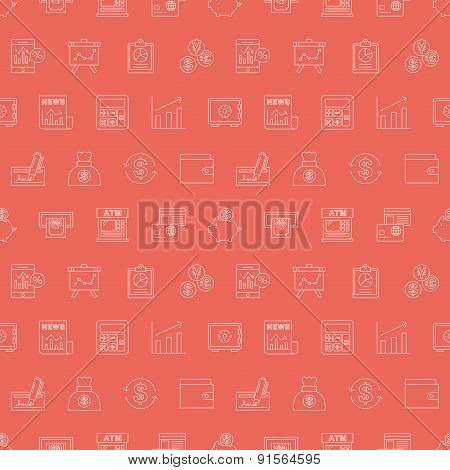 Financial Line Icon Pattern Set