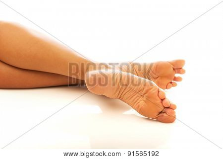 Close up on beautiful woman's feet.